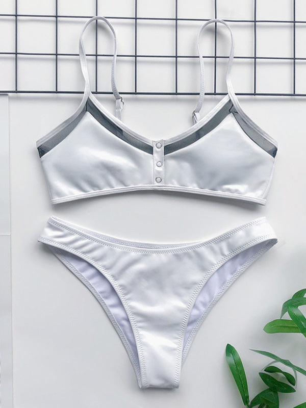 Split-Joint Mesh Yarn Split Type Bikini Swimsuit