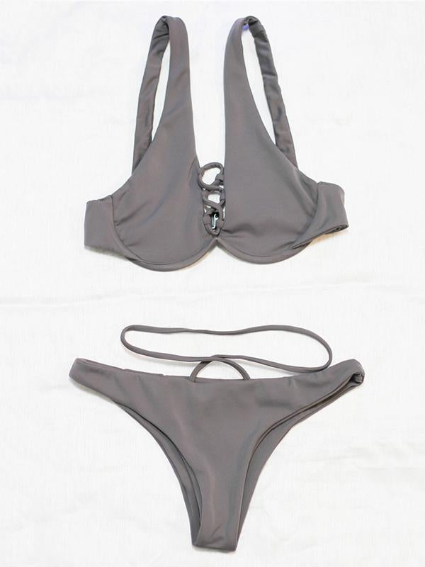 Solid Color Bandage Hollow Underwired Split Bikini Swimsuit