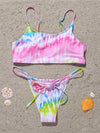 Tie-Dyed Gradient Printed Split Bikini Swimsuit