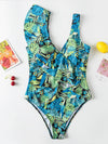 Leaf Printing Asymmetric Flared Sleeves One-Piece Swimwear