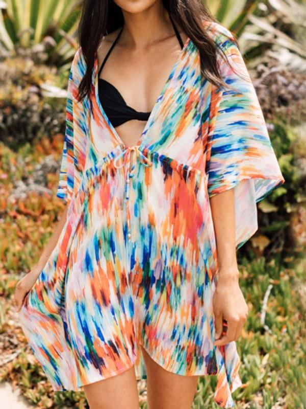 Colorful Gradient Bat Sleeves Belted Cover-Ups Tops