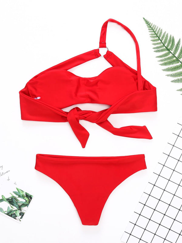 Single Shoulder Bandeau Bikinis Swimwear