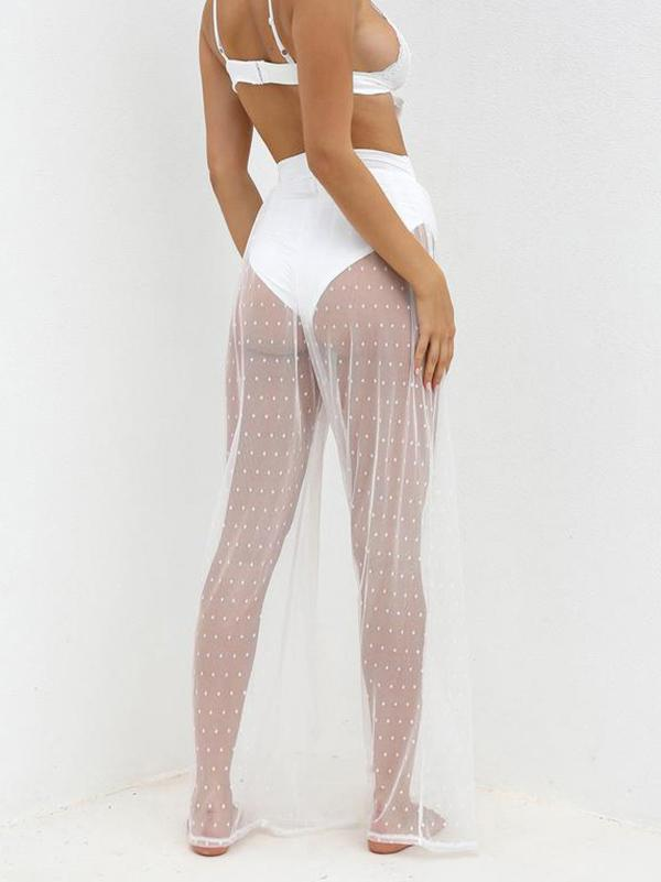 See-Through Gauze Split-Joint Beach Trousers