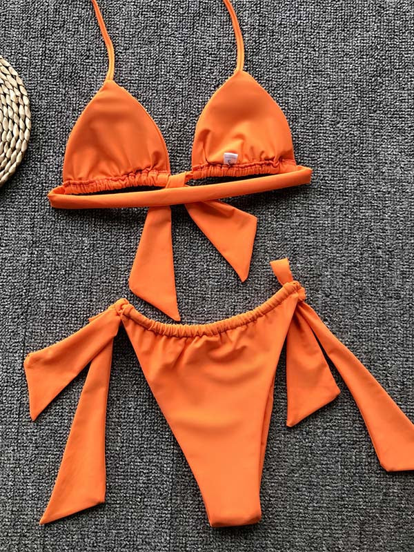 Triangle Top Ruched Plain Bikini Set