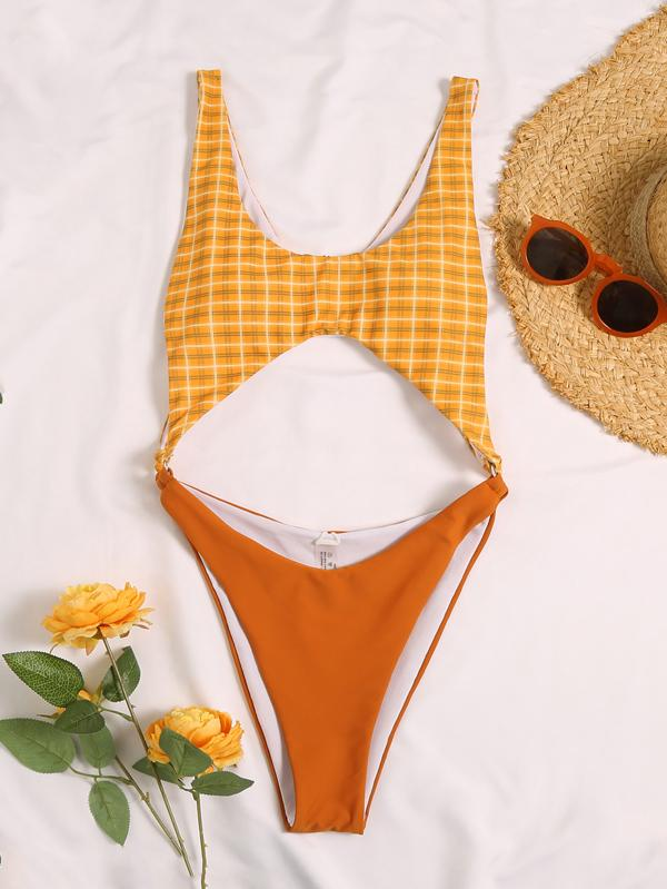 Plaid Printed Split-Joint Hollow One-Piece Swimwear