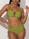 Solid Color Bandage Split Bikini Swimsuit
