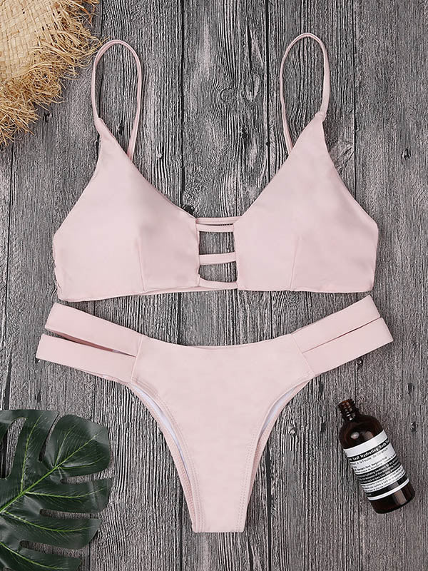 Solid Color Hollow Split Bikini Swimsuit