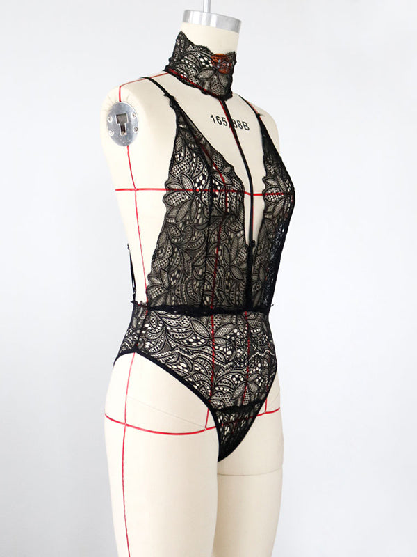Lace See-Through Collar Teddy Lingerie