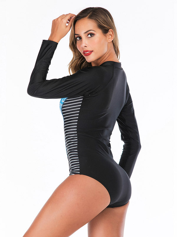 Zipper Floral Printed One Piece Wetsuit