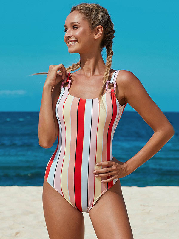 Striped Metal Buckle One-Piece Swimwear
