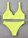 Sexy V-Neck Knotted Solid Color Split Type Bikini Swimsuit