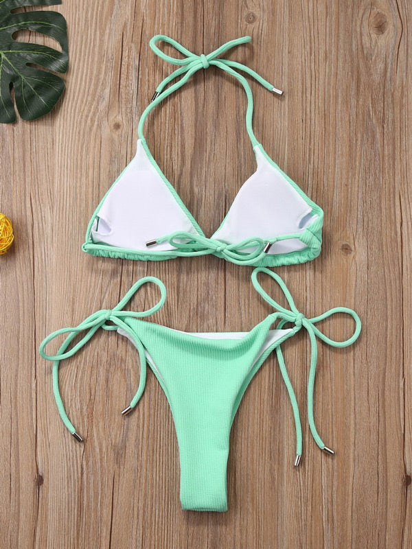 Solid Color Bandage Triangle Split Bikini Swimsuit