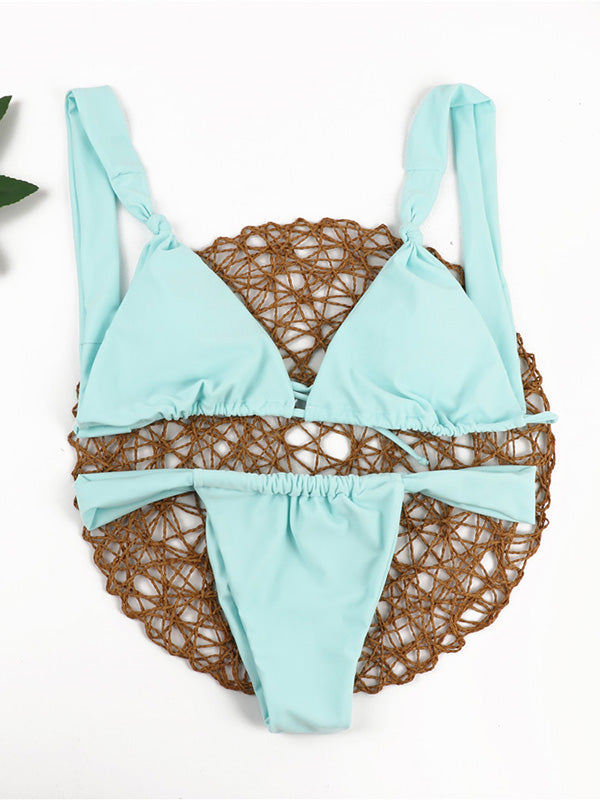 Sexy Triangles Knotted Bandage Split Type Bikini Swimsuit