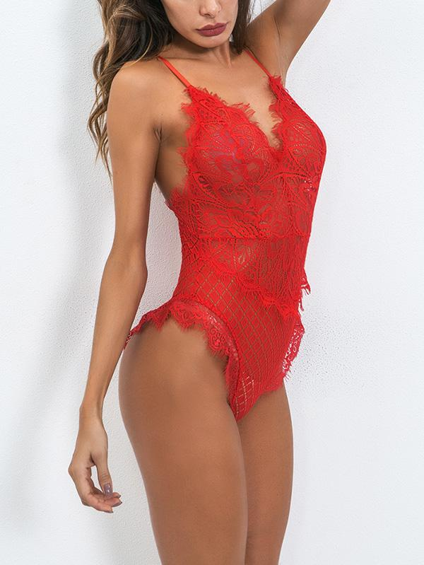 Lace See-Through Backless Teddy Lingerie