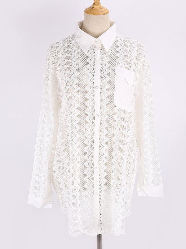 See-Through Lace Split-Joint Long Sleeved Shirt Cover-Ups Tops