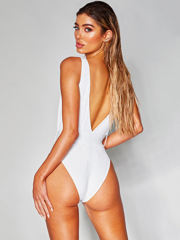 Belt Buckle Plain One Piece Swimsuit