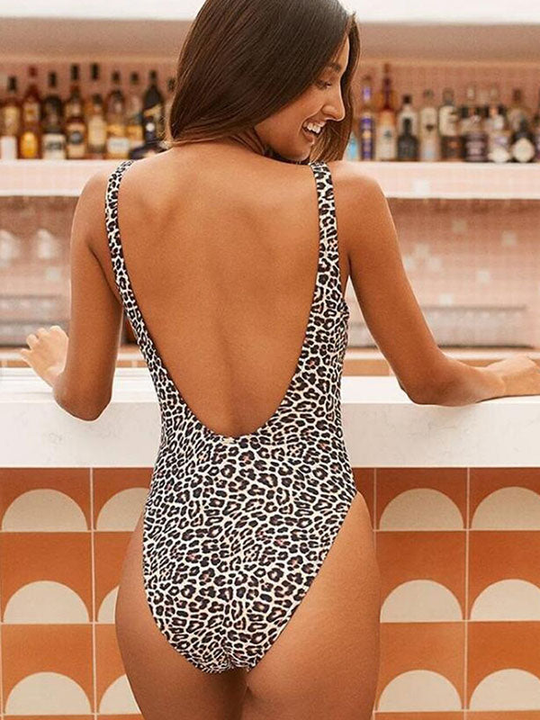 Leopard Print Backless One-Piece Swimwear