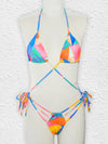 Abstract Printed Bandage Triangles One-Piece Swimwear