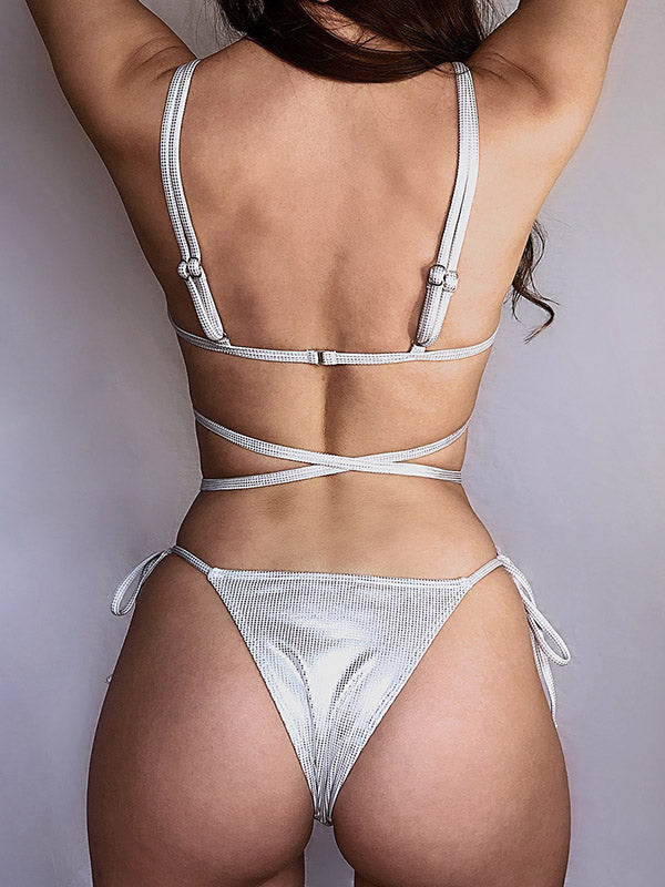 Triangle Bandage Split Bikini Swimsuit