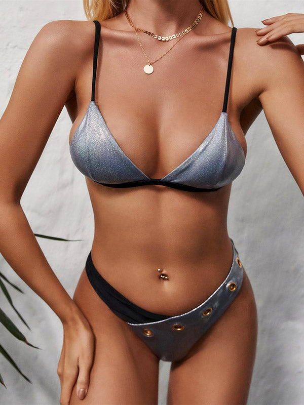 Shiny Asymmetric Split-Joint Triangles Split Bikini Swimsuit