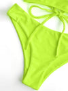 Solid Color Backless Bandage Split Bikini Swimsuit