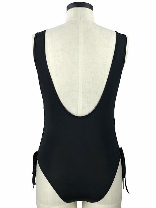 Solid Color Bandage Split-Joint One-Piece Swimwear