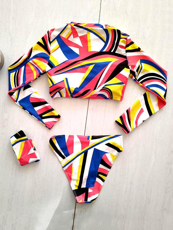 Abstract Printed Long Sleeve Zipper Split Wetsuit+Scarf
