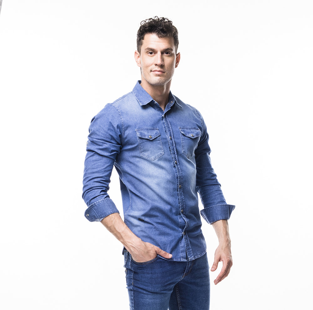 CAMISA DENIM - AZUL