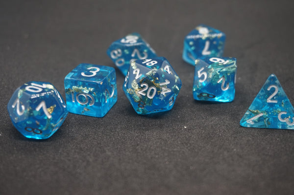 Blue Slicked with Gold Dice Set.