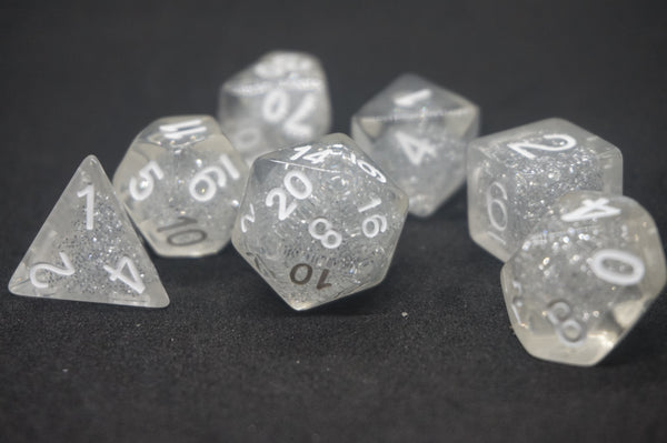 Clear Glitter Dice Set