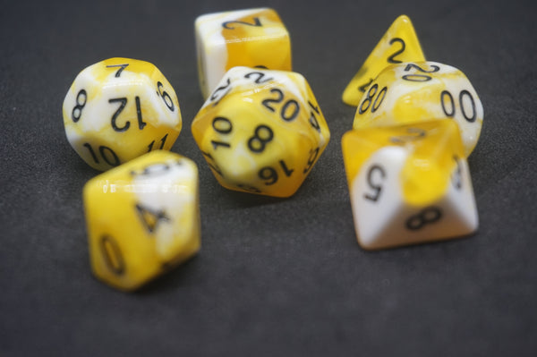 Yellow Sky Dice Set.