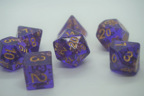 Gold Slick Purple Dice Set.