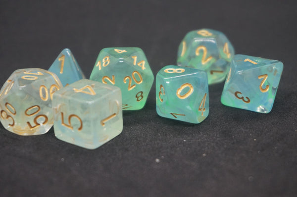 Aqua Gold Dice Set.