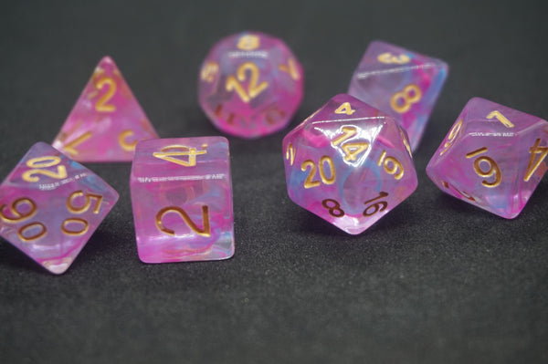 Pink Slicked Blue Dice Set.