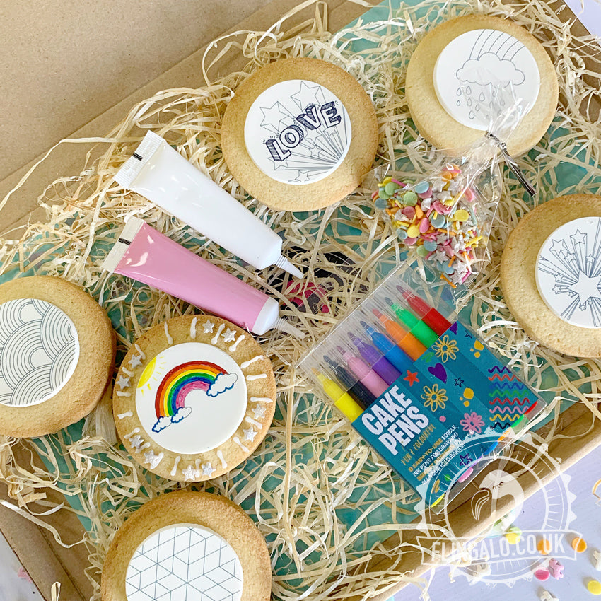 rainbow themed biscuit decorating gift