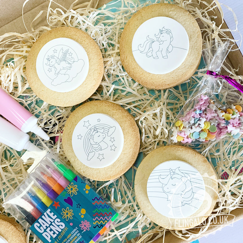 unicorn biscuit colouring in decorating kit