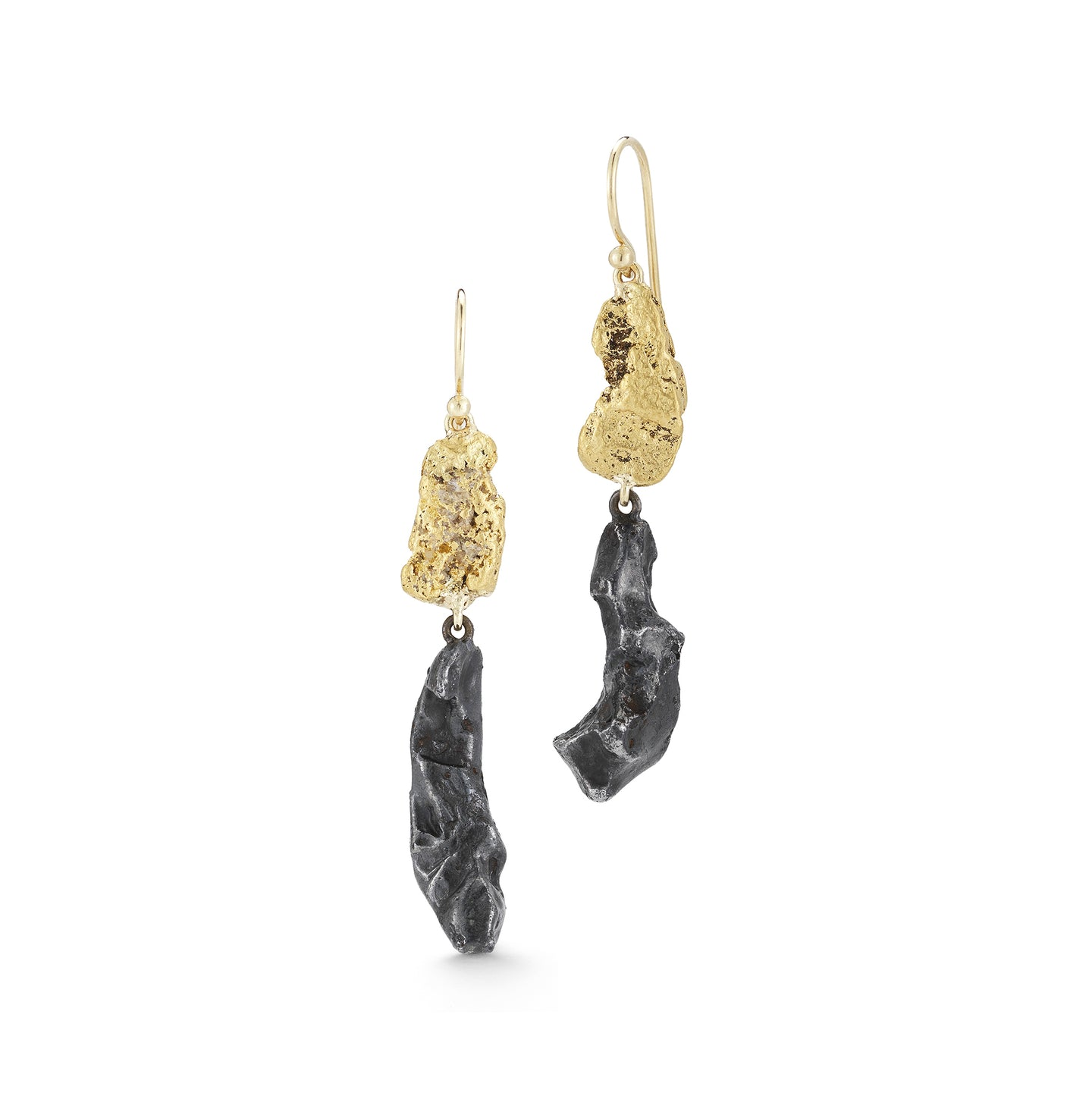 31430 Meteorite and Gold Nugget Drop Earrings