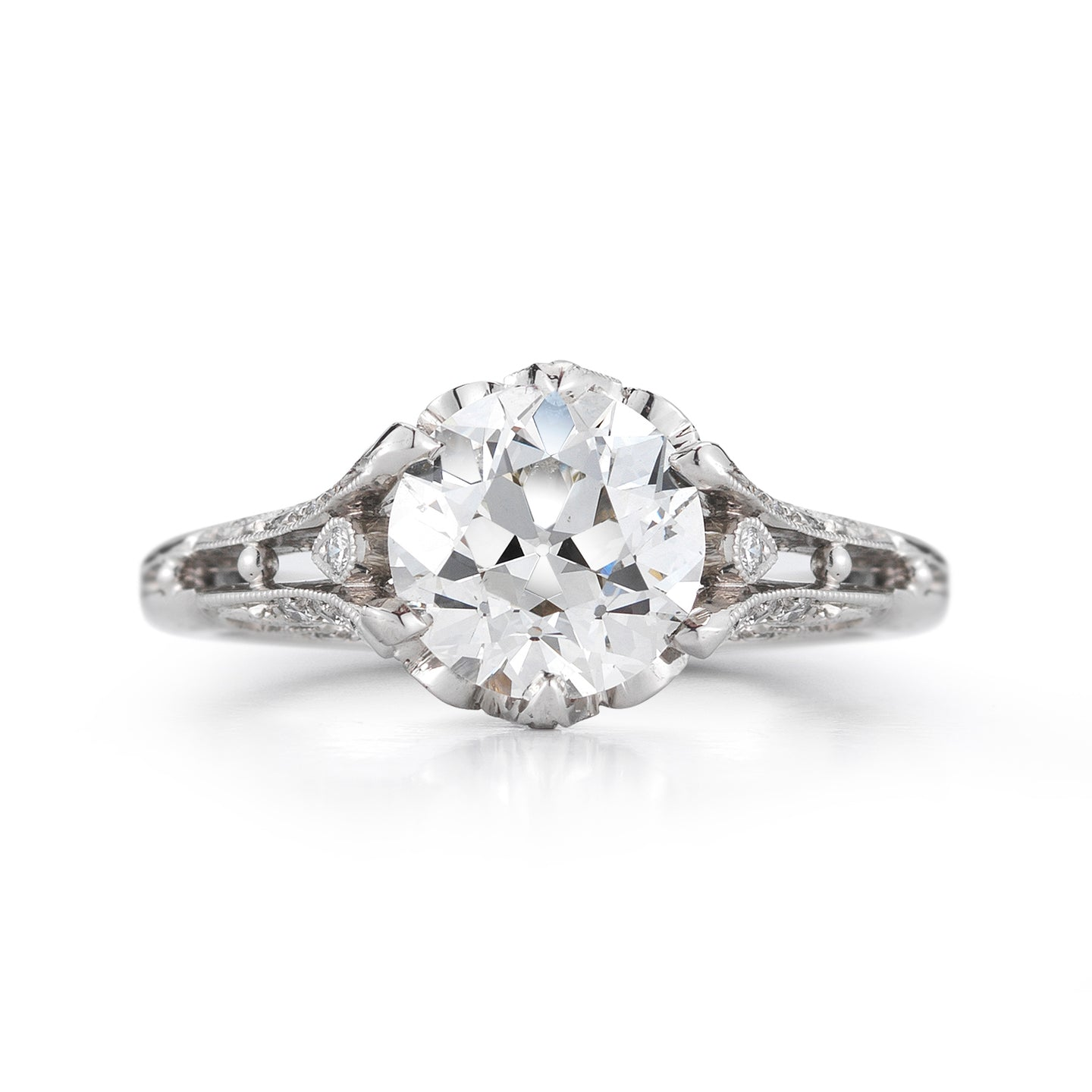 31597 European Ideal Cut Diamond Fountain Ring
