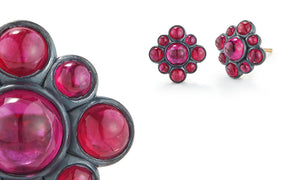 33154 Ruby Noir Bezel Berry Cluster Earrngs