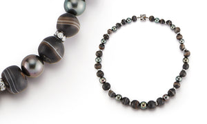 33356 Ancient Agate Beads, Tahitian Pearls and Blackened Silver Diamond Rondel Necklace