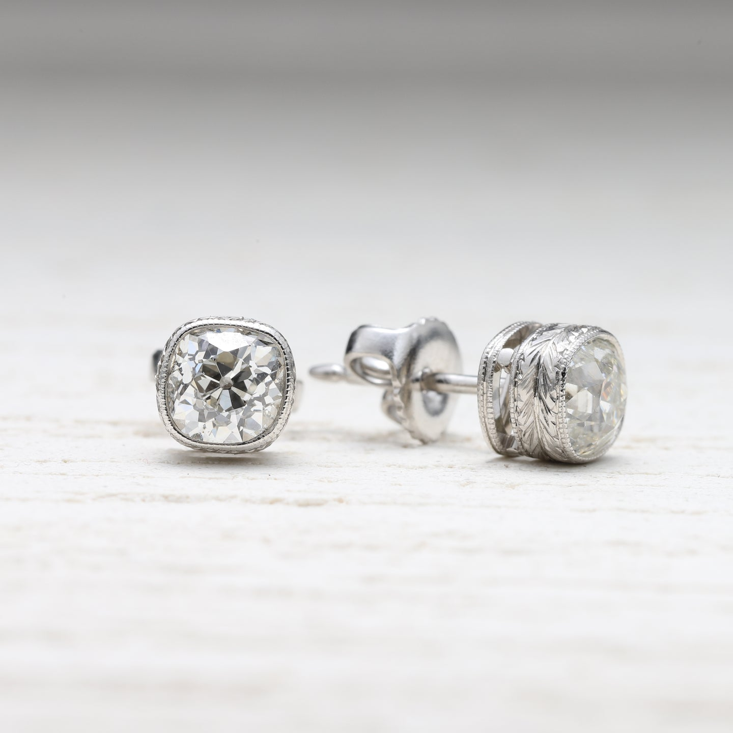 33358 Engraved Bezel Old Mine Cut Diamond Stud Earrings