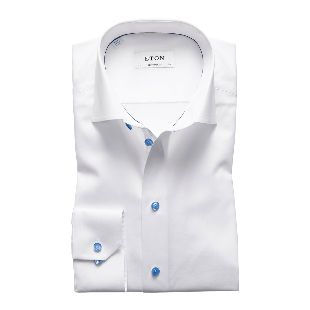 Fine Twill Shirt With Blue Details