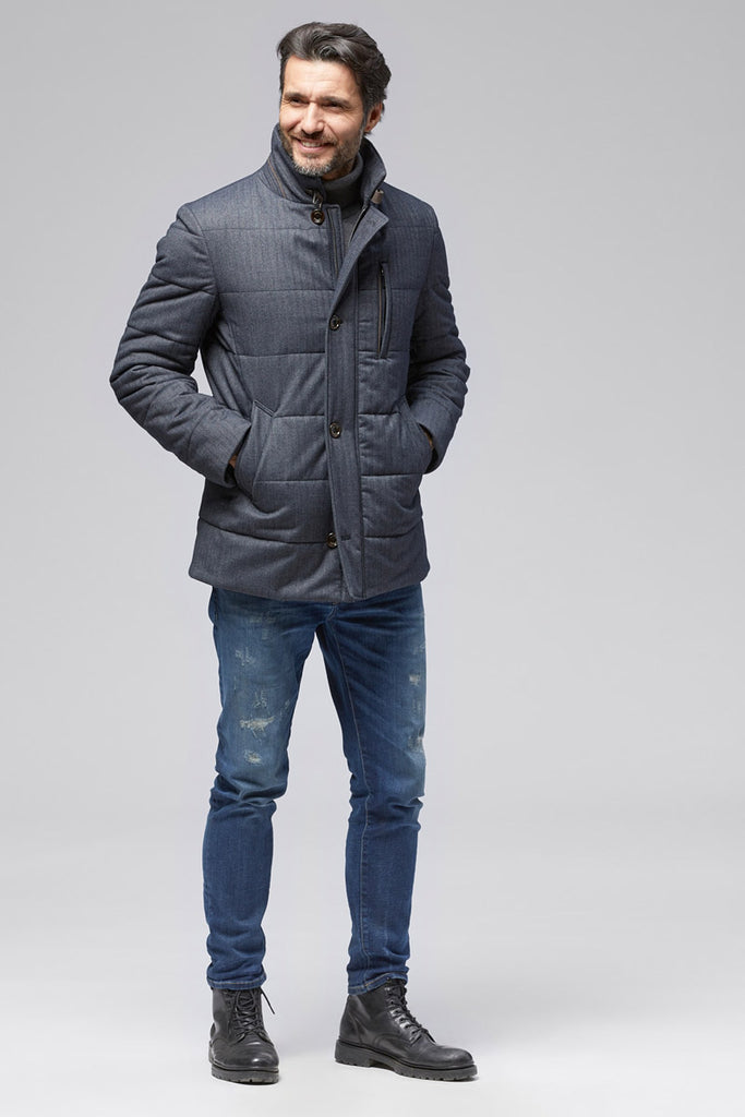 Micro Herringbone Quilted Jacket in Charcoal Denim Gray