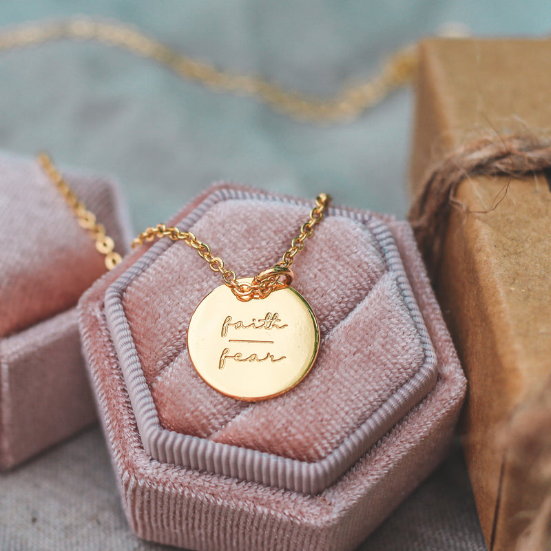 Faith Over Fear - Coin Necklace