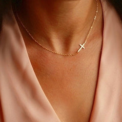 Dainty Sideway Cross Necklace