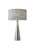 Brushed Steel & Light Grey Textured Fabric Table Lamp on white background
