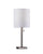 Brushed Steel Table Lamp with White Textured Fabric Shade