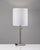 Brushed Steel Table Lamp with White Textured Fabric Shade on Grey background