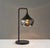 Black Table Lamp with a Smoked Glass Shade on a grey background  image 4