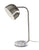 Brushed Steel Desk Lamp with a White Marble w. Steel Plate Base on white background  image 1